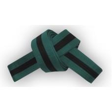 Forest Green/Black Stripe Belt 4cm Wide Double Wrap for Karate / Taekwondo / Judo / Kendo / Hapkido