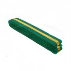 Green/Golden Stripe Belt 4cm Wide Double Wrap for Karate / Taekwondo / Judo / Kendo / Hapkido