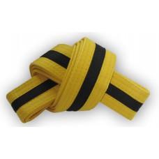 Yellow/Black Stripe Belt 4cm Wide Double Wrap for Karate / Taekwondo / Judo / Kendo / Hapkido