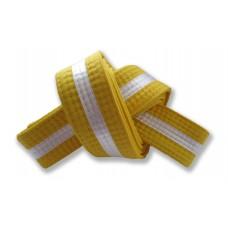 Yellow/White Stripe Belt 4cm Wide Double Wrap for Karate / Taekwondo / Judo / Kendo / Hapkido